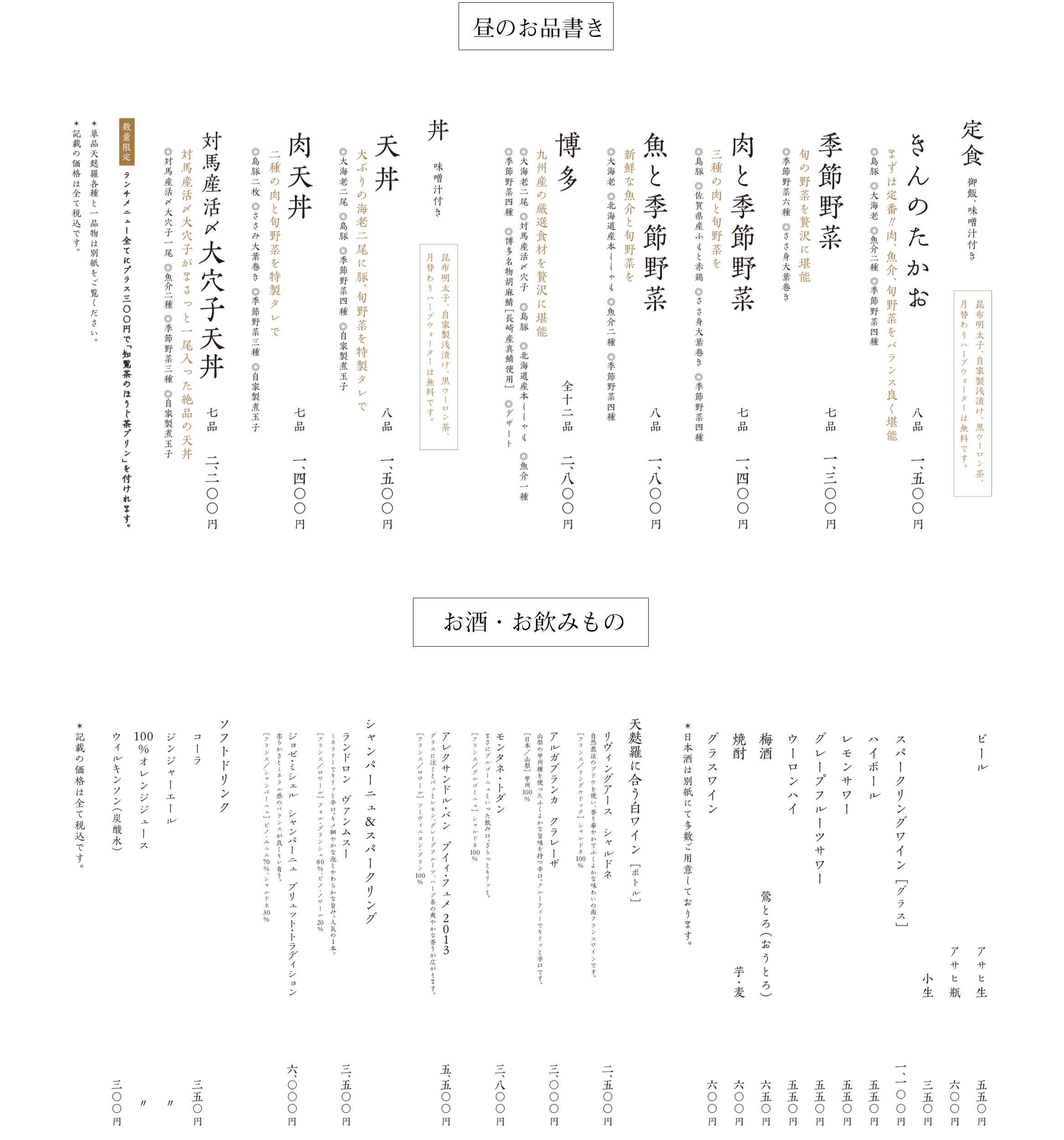 天ぷらたかお南青山店のメニュー表 昼のお品書き